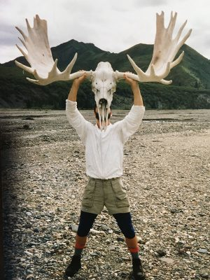 Derek Sheffield with moose skull and antlers